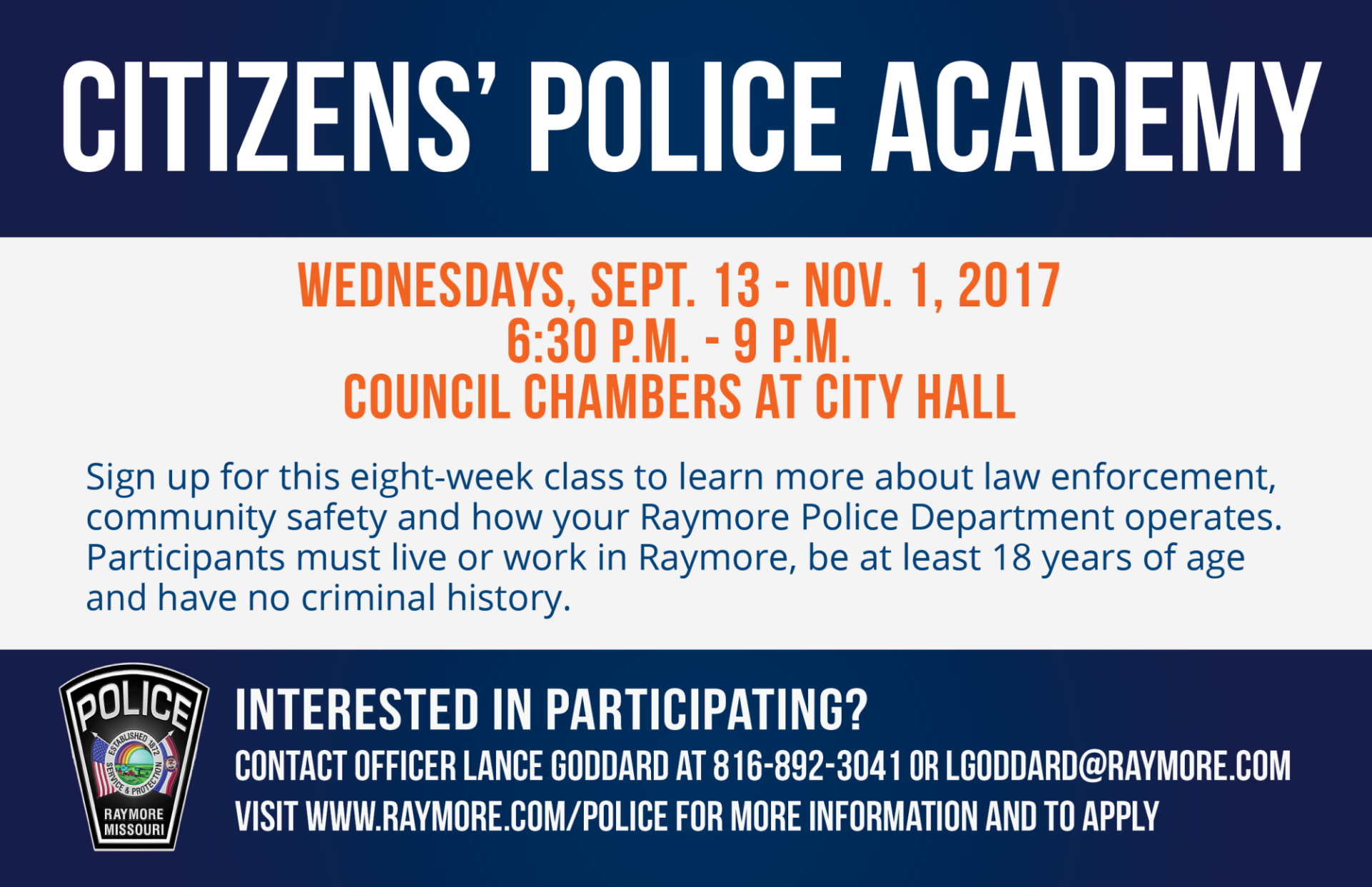 Citizens' Police Academy 2017